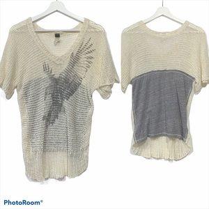 Free People Soar Above Eagle Mesh Sweater XS